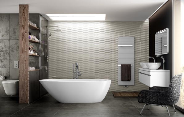 Картинка дизайн, интерьер, кресло, ванна, проект, модерн, ванная комната