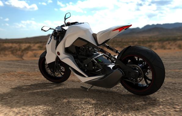 Картинка белый, небо, дизайн, стиль, пустыня, рисунок, мото, колесо, concept, мопед, концепт, мотоцикл, прототип, байк, диск, …
