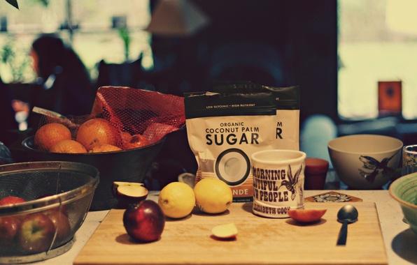 Картинка яблоки, апельсины, ложка, кружка, чашка, сахар, доска, лимоны
