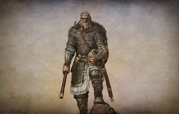 Картинка игра, арт, поход, воинов, военный, амуниция, 1000, action, норд, вождь, вооружен, мечом, ролевая, RPG., Mount ...