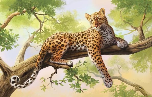 Картинка дерево, леопард, живопись, art, olggah