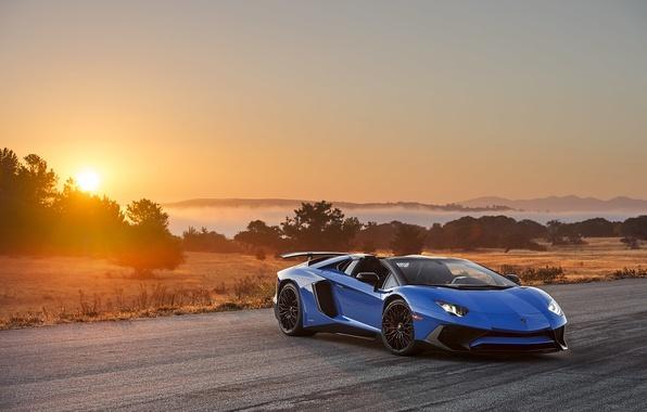 Картинка солнце, закат, восход, Roadster, Lamborghini, Aventador, LP-750