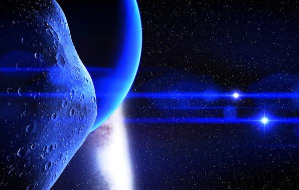 Картинка лучи, свет, вселенная, звезда, планета, астероид