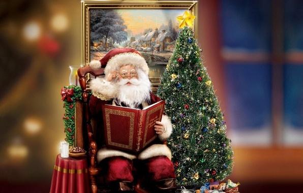 Картинка украшения, праздник, подарок, елка, свеча, картина, Рождество, книга, ёлка, christmas, Санта Клаус, фигурка, Томас Кинкейд, …