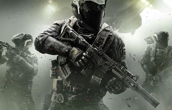 Картинка Огни, Дым, Свет, Шлем, Солдат, Call of Duty, CoD, Военный, Activision, Экипировка, Infinity Ward, High …