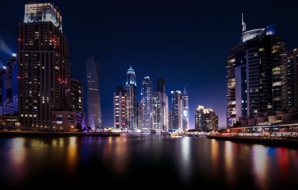Картинка отражения, ночь, город, огни, Дубай, небоскрёбы, ОАЭ, UAE, Dubai Marina