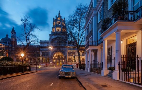 Картинка дорога, машина, город, Англия, Лондон, здания, дома, вечер, освещение, фонари, Великобритания, архитектура, London, England, Great …