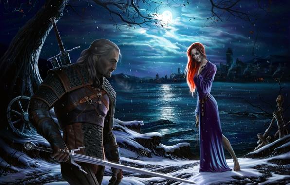 Картинка девушка, ночь, луна, берег, меч, платье, рыжая, rpg, geralt, Gwynbleidd, CD Projekt RED, The Witcher …