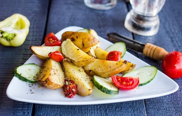 Картинка огурец, перец, овощи, помидоры, картофель