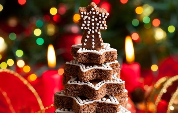 Картинка зима, огни, елка, свечи, Новый Год, Рождество, ёлочка, Christmas, десерт, выпечка, праздники, боке, New Year