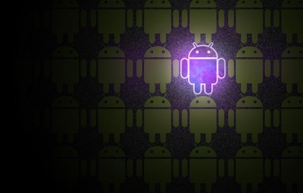 Картинка космос, свет, яркий, зеленый, лампа, робот, Android, другой, Андройд