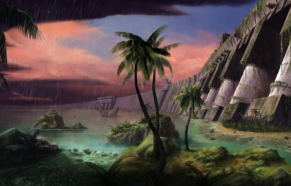 Картинка гроза, вода, тучи, пальмы, дождь, заросли, арт, руины, Andrew Palyanov
