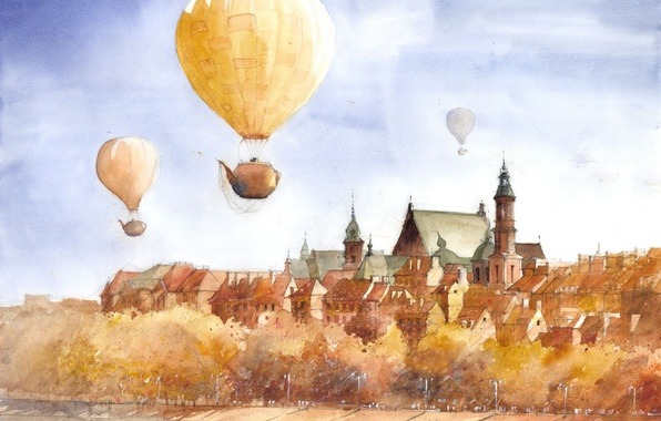 Картинка деревья, город, сюрреализм, рисунок, арт, полёт, набережная, Tytus Brzozowski, чайники