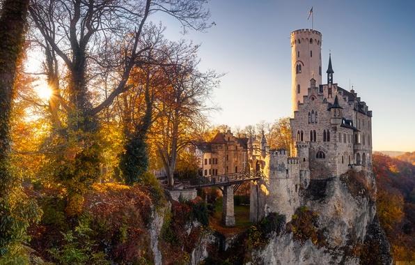Картинка осень, солнце, деревья, замок, Германия