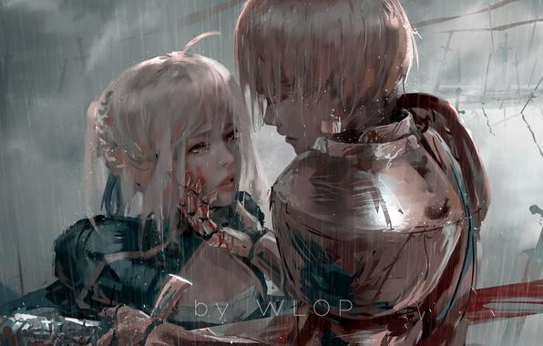 Картинка sword, blood, fantasy, Fate/Stay Night, rain, armor, weapon, anime, painting, Gilgamesh, warrior, anime girl, wlop, …