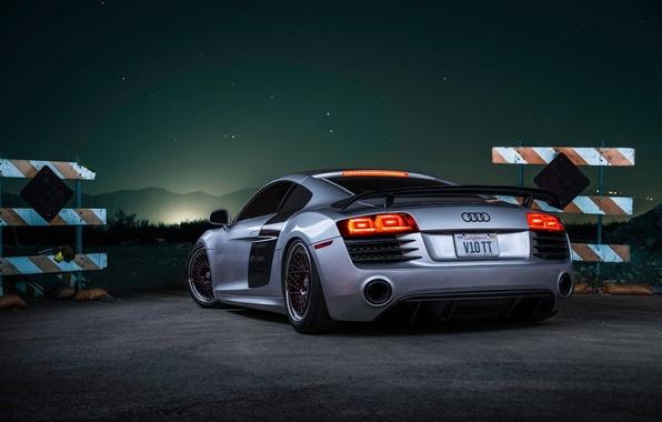Картинка Audi, Sky, Stars, V10, Custom, Silver, Sportcar, Spoiler, Rear