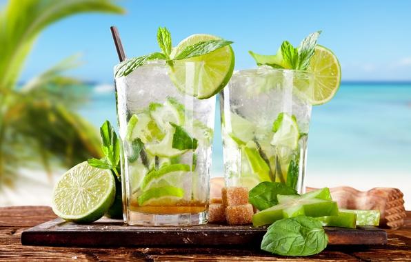 Картинка пляж, лето, тропики, коктейль, лайм, summer, напиток, beach, мята, drink, cocktail, lime, mint, tropics