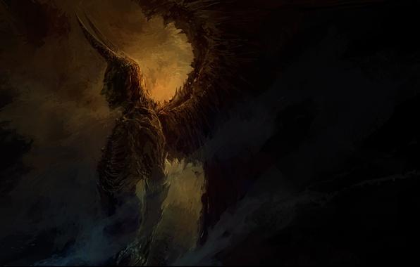 Картинка тьма, крылья, демон, арт, рога