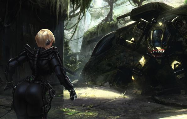 Картинка попа, девушка, фантастика, робот, джунгли, арт, блондинка, танк, задница, экзоскелет, Heavy Metal
