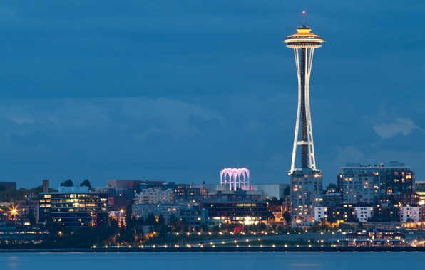 Картинка city, город, lights, огни, вечер, залив, Вашингтон, Сиэтл, USA, США, Space Needle, evening, Washington, bay, …