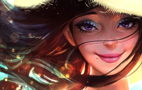 Картинка лето, глаза, девушка, лицо, улыбка, волосы, шляпа, арт