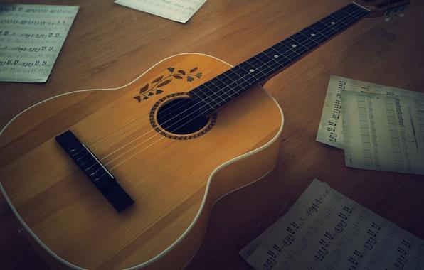 Картинки фото гитара ноты музыка