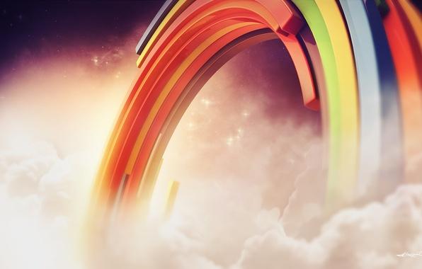 Картинка облака, радуга, creative, рендер, lacza