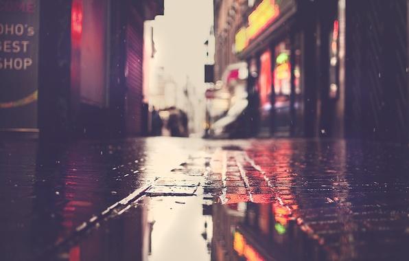 Картинка зима, мокро, осень, макро, свет, блики, Англия, улочка, боке, город Лондон