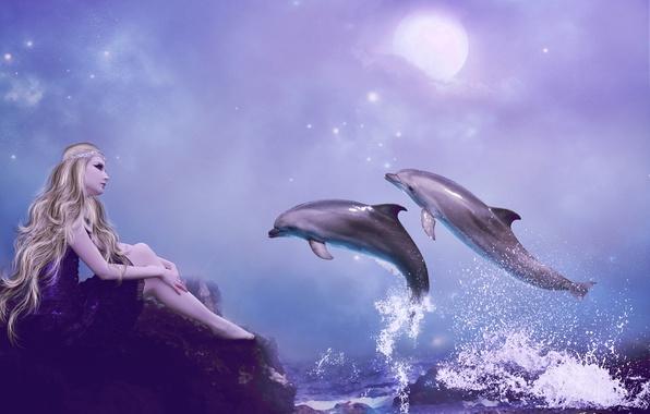 Картинка море, небо, взгляд, девушка, брызги, фантастика, волосы, руки, платье, блондинка, дельфины, профиль, сидит, длинные