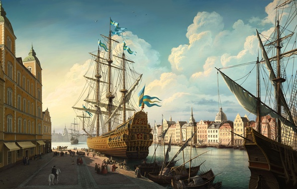 Картинка облака, река, рисунок, парусник, Корабль