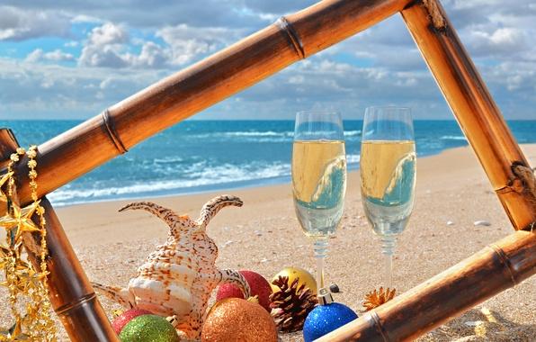 Картинка песок, море, пляж, украшения, игрушки, Новый Год, ракушки, beach, sea, sand, shore