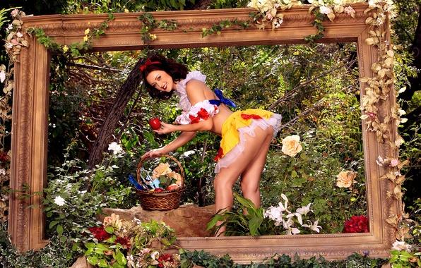 Картинка цветы, природа, корзина, apple, яблоко, картина, костюм, образ, шатенка, белоснежка, brown hair, nature, flowers, painting, …