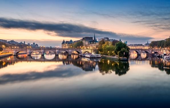 Картинка город, огни, река, Франция, Париж, здание, дома, Сена, мосты