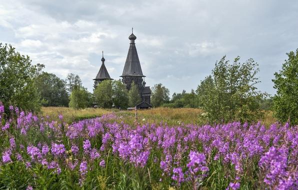 Картинка пейзаж, природа, церковь, храм, православие, ленинградская область, гимрека