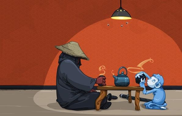 Картинка комната, катана, воин, чаепитие, обезьянка