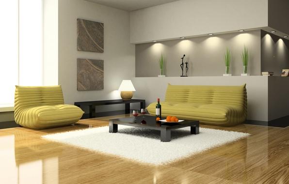 Картинка диван, интерьер, Дизайн, кресло, столик, гостиная