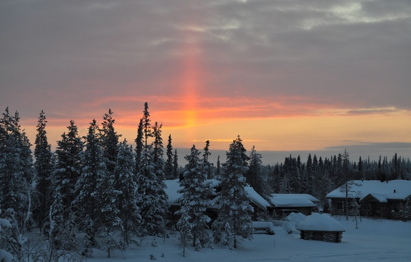Картинка зима, лес, небо, солнце, снег, пейзаж, дом, рассвет, отдых, красота, утро, деревня, мороз, сосны, изба