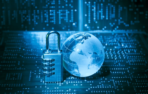 Картинка синий, фон, замок, планета, плата, технологии, инновация