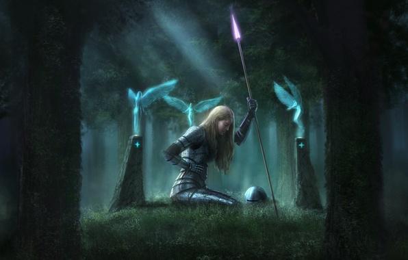 Картинка лес, девушка, оружие, магия, кровь, крылья, духи, колонны, шлем, копье, доспех, рана