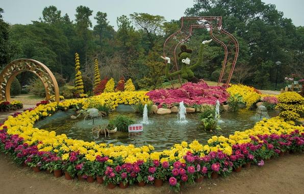 Картинка деревья, цветы, дизайн, парк, дорожка, Китай, арка, фонтан, разноцветные, скульптуры, Hangzhou Botanical Garden