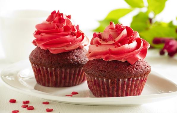 Картинка сладость, крем, выпечка, кексы, сахарные сердечки