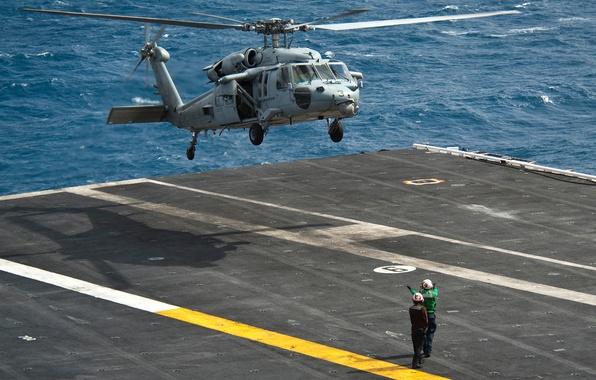 Картинка море, вертолет, авианосец, посадка, Sikorsky, UH-60, Black Hawk, чёрный ястреб