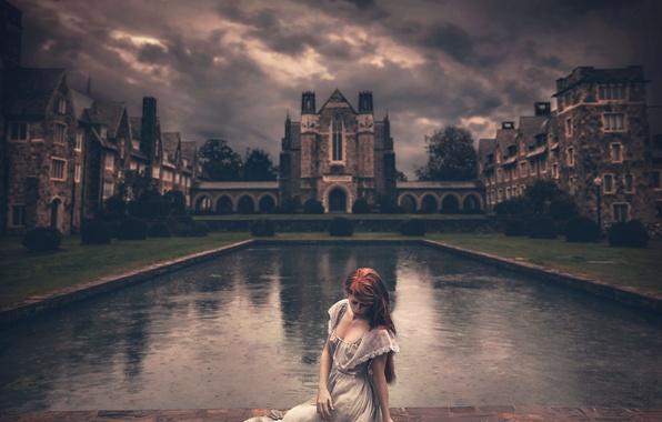 Картинка девушка, тучи, замок, платье, Shelby Robinson