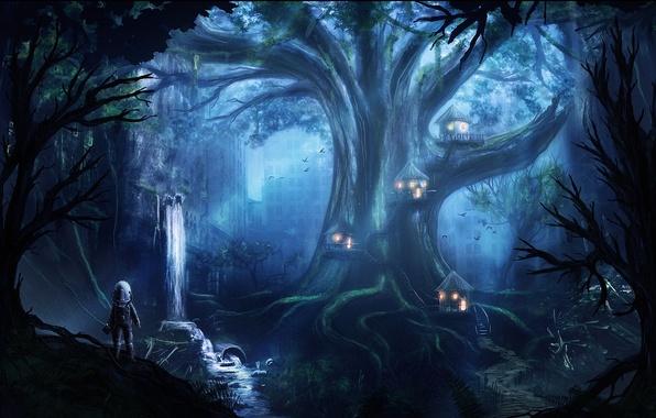 Картинка город, дерево, здания, водопад, дома, фигура, скафандр, арт