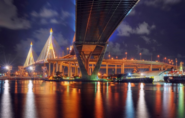 Картинка ночь, мост, огни, отражение, река, подсветка, фонари, Таиланд, Бангкок, Thailand, Bangkok