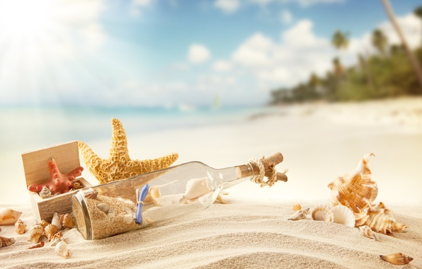 Картинка песок, море, пляж, лето, солнце, отдых, берег, ракушки, summer, sunshine, beach, sand, message, vacation, tropical, …