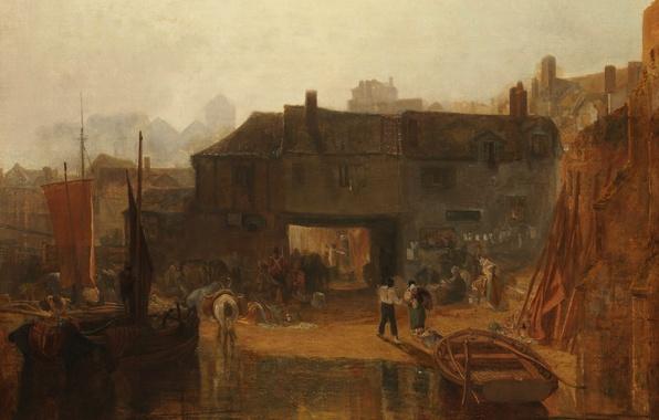 Картинка люди, лодка, дома, картина, парус, городской пейзаж, Уильям Тёрнер, Saltash with the Water Ferry