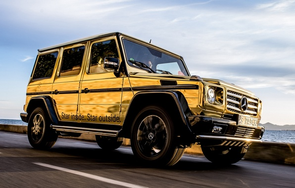 Картинка небо, Mercedes-Benz, Мерседес, джип, внедорожник, золотой, передок, спец.версия, Festival de Cannes, G-Klasse