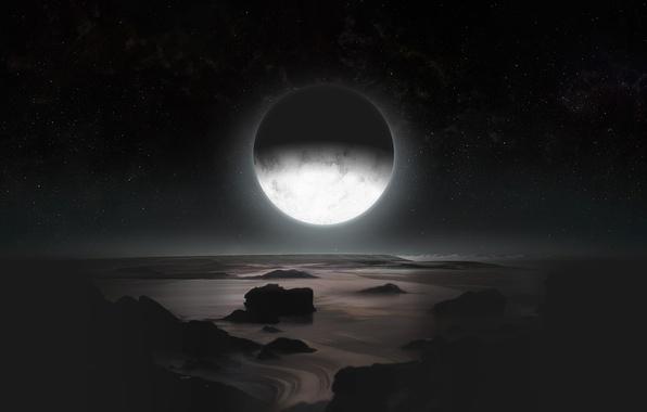 Картинка космос, звезды, поверхность, спутник, Плутон, карликовая планета