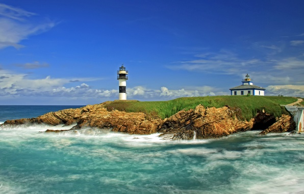 Картинка море, маяк, остров, Испания, Spain, Ribadeo